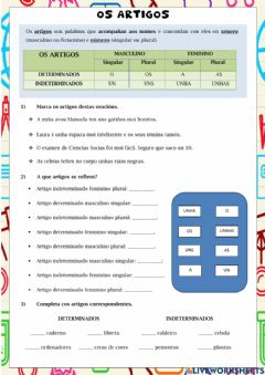 Interactive worksheet Os artigos