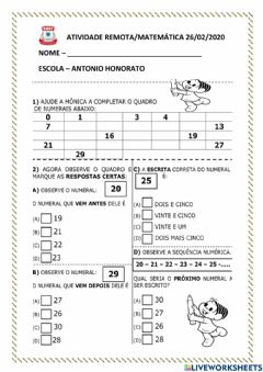 Interactive worksheet Sequencia