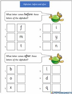 Interactive worksheet Abc before and after 4