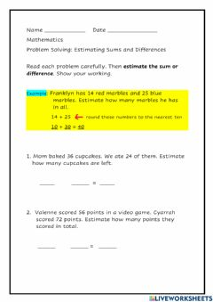 Interactive worksheet Estimating Sums and Differences Word Problems