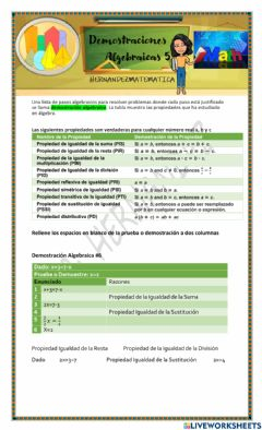 Interactive worksheet Demostraciones algebraicas 5