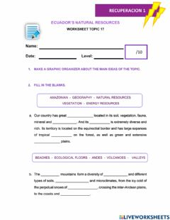 Interactive worksheet Topic 17: Ecuador's Natural Resources