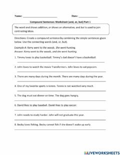 Interactive worksheet Compund sentences, and- or- but