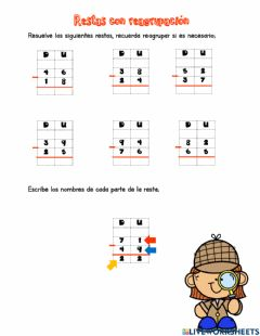 Interactive worksheet Resta con reagrupación