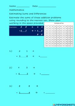 Ficha interactiva Estimating Sums and Differences - Computation