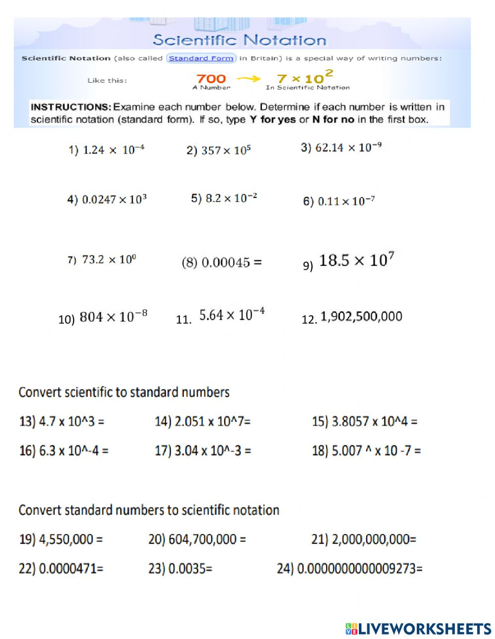 Introduction to Scientific Notation worksheet In Scientific Notation Worksheet Answer Key