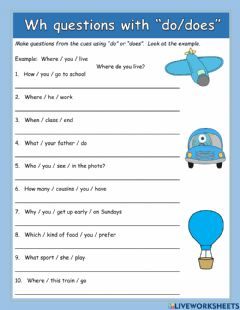 Interactive worksheet WH questions with DO or DOES