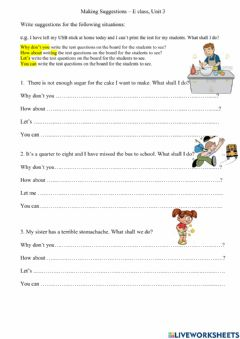 Interactive worksheet Making suggestions