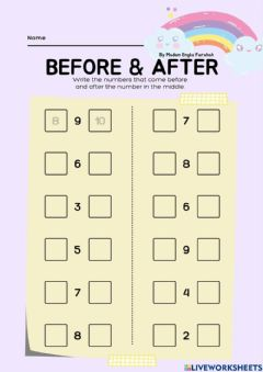 Interactive worksheet Before and After