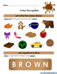 Interactive worksheet Colour Recognition- Brown