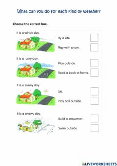 Interactive worksheet What Can You for Each kind of Weather