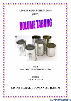 Interactive worksheet VOLUME TABUNG KELAS 6 SD