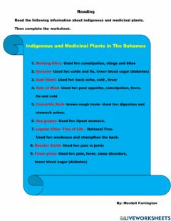 Interactive worksheet Indigenuous Plants in The Bahamas