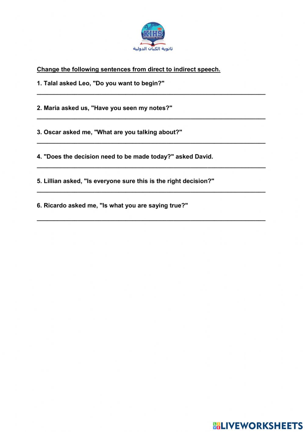 Direct and Indirect Speech activity