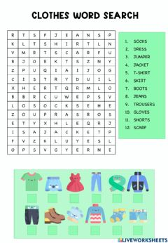 Interactive worksheet Clothes wordsearch