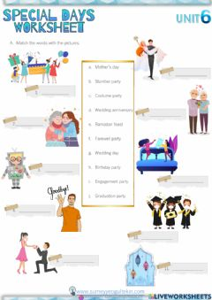 Interactive worksheet 7.6 Celebrations