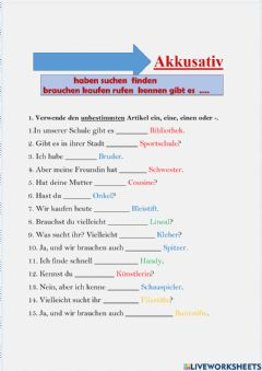 Interactive worksheet Akkusativ