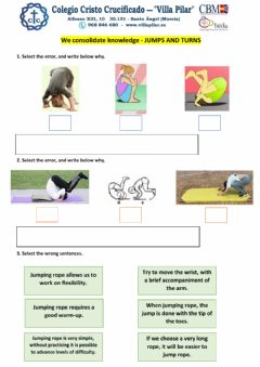 Interactive worksheet We consolidate knowledge - Jumps and turns