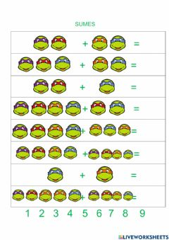 Interactive worksheet Les tortugues ninja