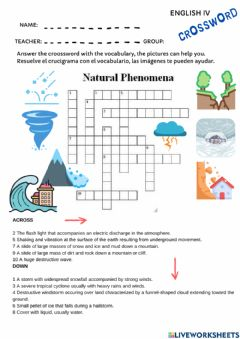 Interactive worksheet Vocabulary natural disasters
