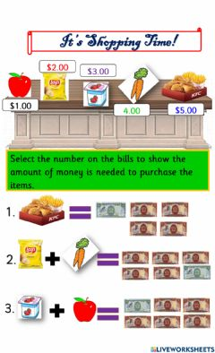 Interactive worksheet Buying and selling