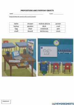 Interactive worksheet Cefr year 5 : prepositions and everyday objects