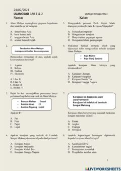 Interactive worksheet BAB 1 - 2 SEJARAH TING. 2