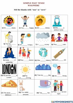 Interactive worksheet Simple past tense with to be was and were