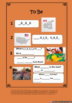 Interactive worksheet Verb to Be- 1.1