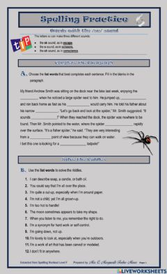 Interactive worksheet Words with sc