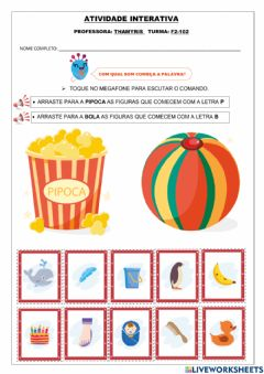 Interactive worksheet Som inicial letras P e B