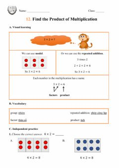 Interactive worksheet Find the Product of Multiplication