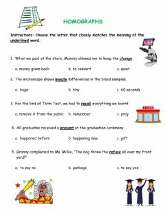 Interactive worksheet Homographs