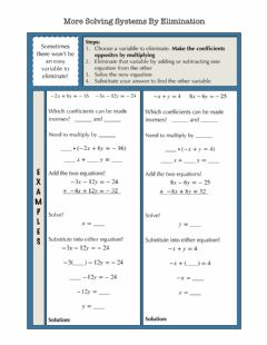 Interactive worksheet Solving Systems by Eliminations Different Coef Notes