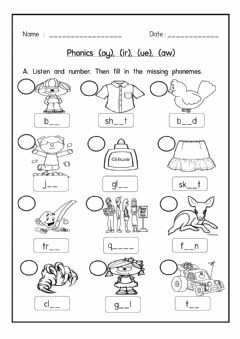 Interactive worksheet Phonics oy, ir, ue, aw