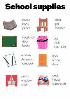 Ficha interactiva School supplies vocabulary