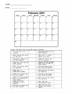 Interactive worksheet Calendar math feb 2021