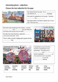 Interactive worksheet Interesting Places - Adjectives