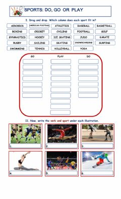 Interactive worksheet Sport: do, go, play