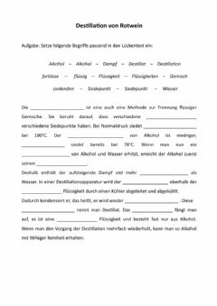Interactive worksheet Destillation von Rotwein