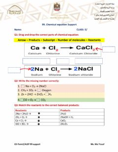 Interactive worksheet Chemical Equation