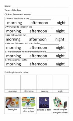 Interactive worksheet Times of the Day