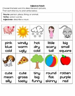 Interactive worksheet Adjectives, Nouns and Verbs review