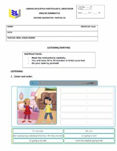 Interactive worksheet Listening and writing 5th basic