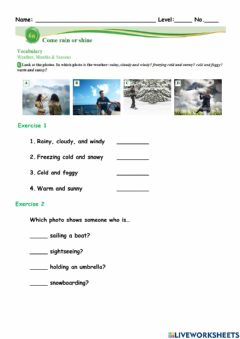 Interactive worksheet Weather and Months