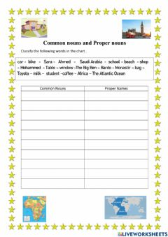 Interactive worksheet Common   nouns and Proper names
