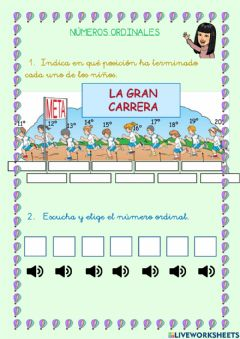 Interactive worksheet Números ordinales (hasta el vigésimo)