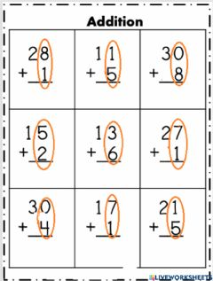 Interactive worksheet Double and single digit addition