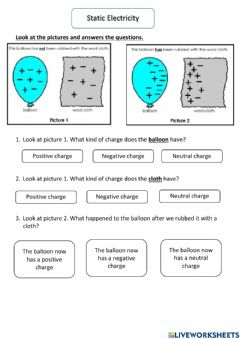 Interactive worksheet Static electricity