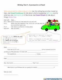 Interactive worksheet Writing: Postcard about a Trip with Prompts